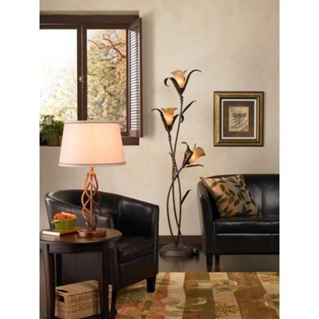 Franklin Iron Works Intertwined Lilies Floor Lamp 02350 Lamps