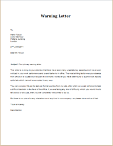 Disciplinary Action Warning Letter Download At HttpWww