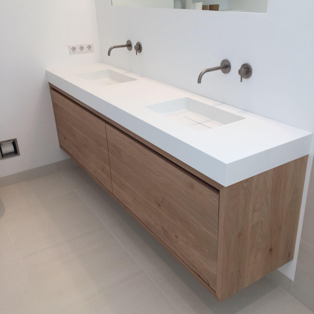 Badkamer meubel van eiken op maat gemaakt door salle de bains pinterest - Deco badkamer meubels ...