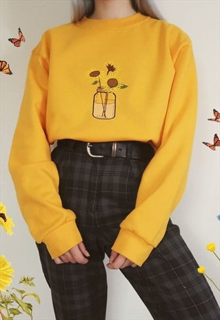 Sunflower Floral Embroidered Yellow Sweatshirt Flower Jumper | BLVCK APPAREL