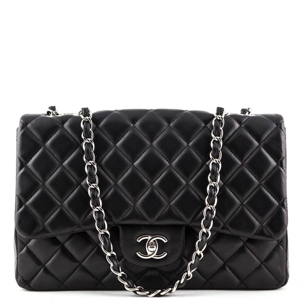 Chanel Black Lambskin Jumbo Classic Single Flap Bag Shw Chanel Bags Flap Bag Bags Chanel Black