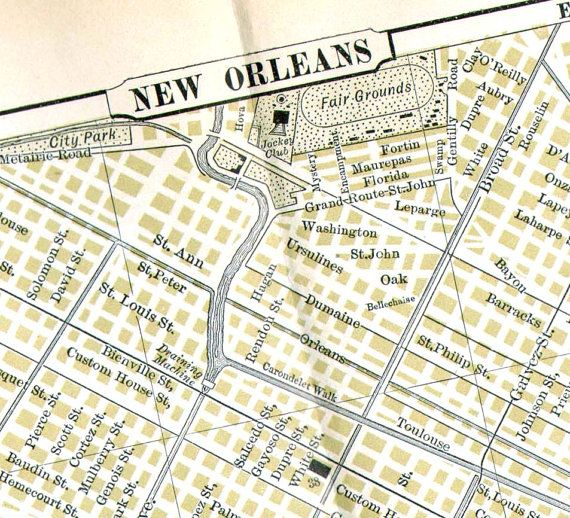 New Orleans Louisiana Map 1896 Victorian Antique Copper Engraved