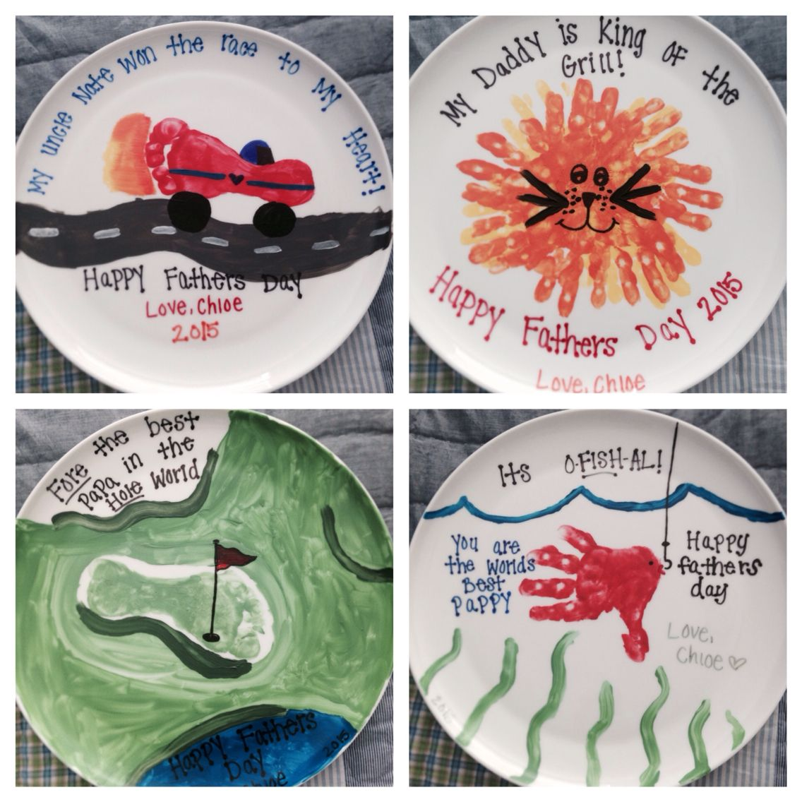 Father's Day ceramic plates! Use acrylic paint and ...