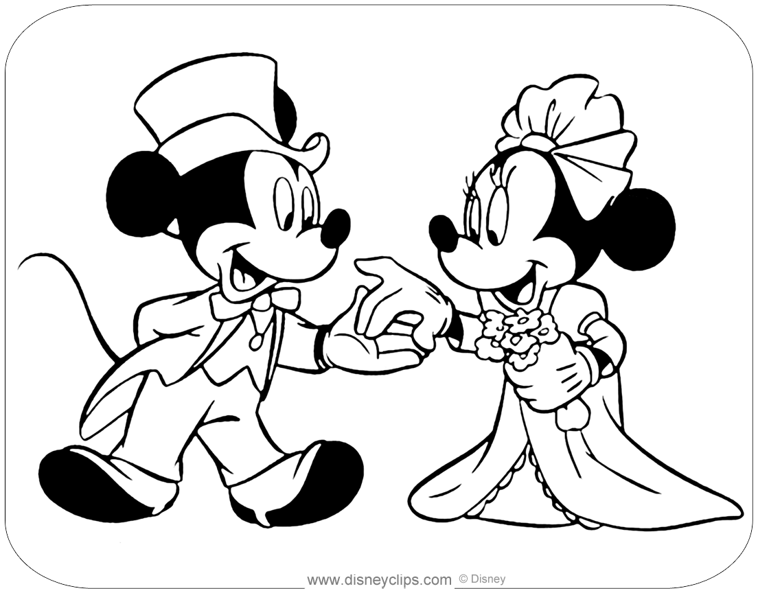Mickey And Minnie Wedding Coloring Pages Minnie Mouse Coloring Pages Mickey Mouse Coloring Pages Disney Coloring Pages
