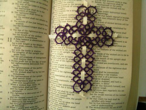 Handmade Tatting tatted cross bible bookmark Dark Grape   eBay