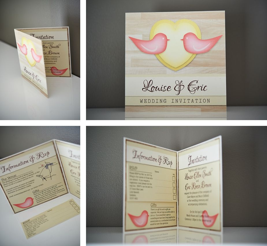 bifold wedding invitation from the love bird collection design