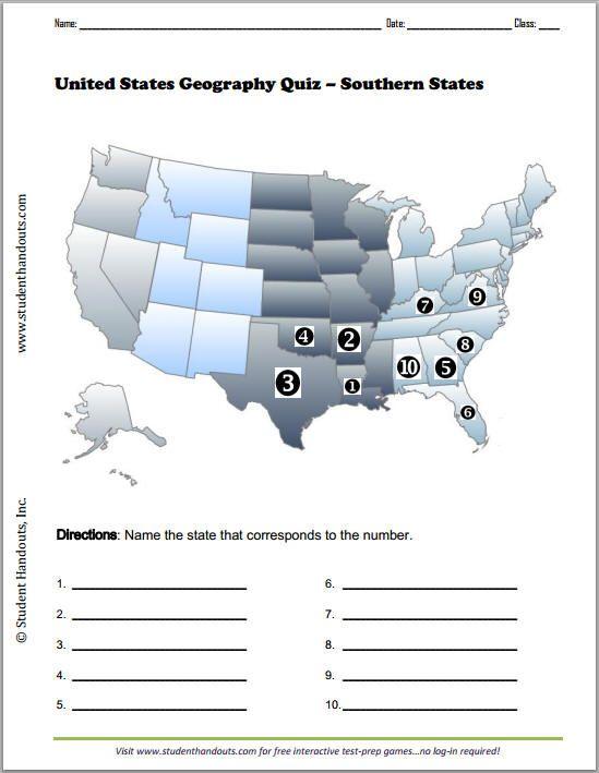 Southern States Printable Map Quiz - Free to print (PDF). | Social ...