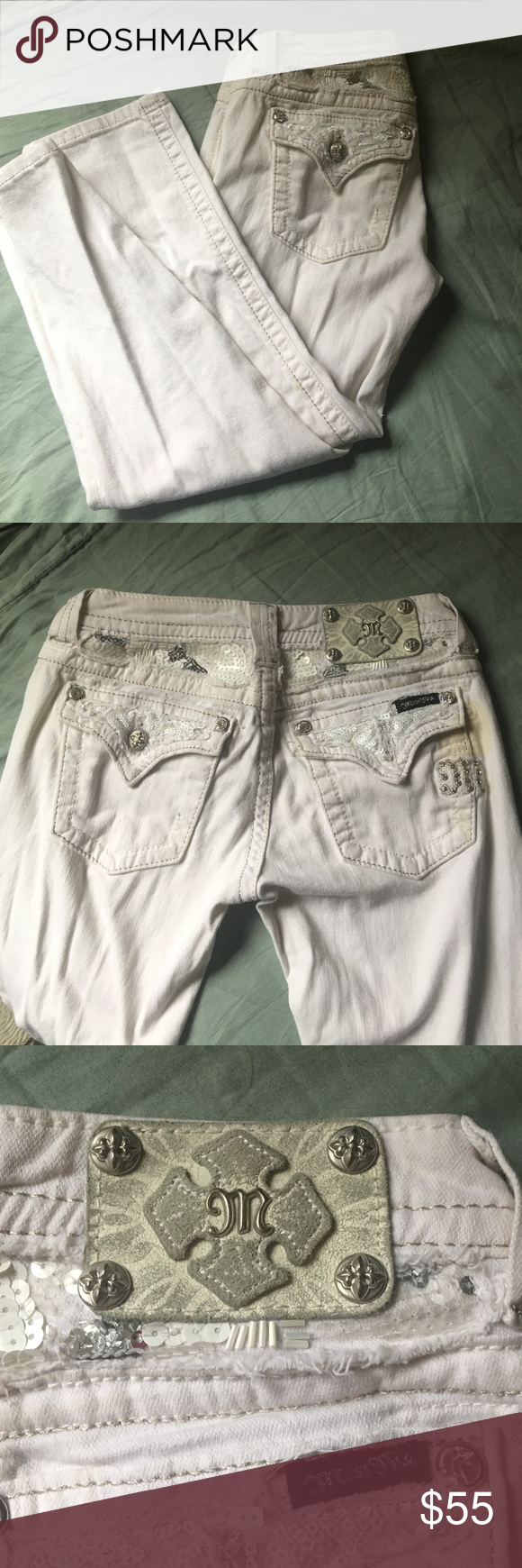 White Miss Me capris size 25 😍 Adorable Miss Me capris size 25. So cute! Too small for me, now. But I loved these! Small stain on the pocket but easily fixable with bleach. Missing the button, but those are available free of charge at any buckle location (: Miss Me Jeans Ankle & Cropped