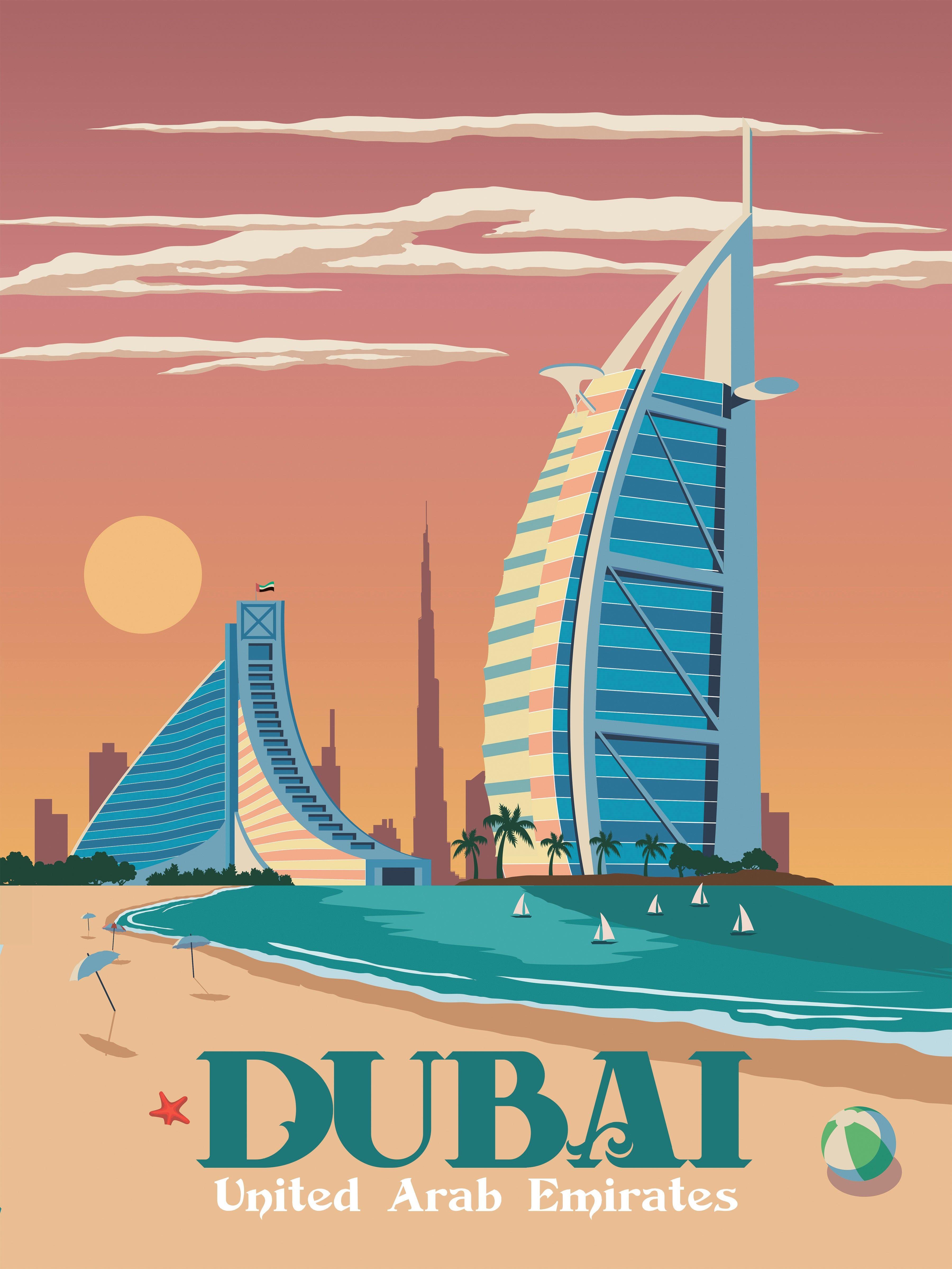 Dubai Travel Poster Vintage Retro Wall Art Print Uae Skyline Map Minimalism Retro Travel Poster Travel Illustration Travel Posters