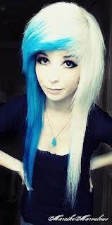 Half Blue Half Blonde Yuuuuh Emo Hair Hair Styles