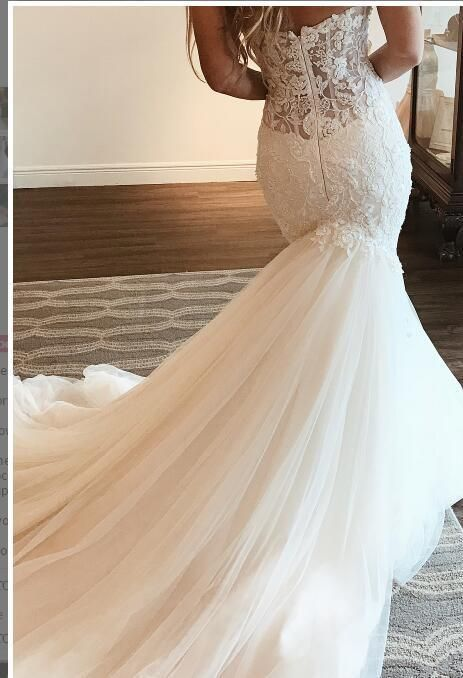 2019 Sweetheart neckline Tulle Mermaid Wedding Dress with Appliques, Sexy Sleeveless Bridal Dresses
