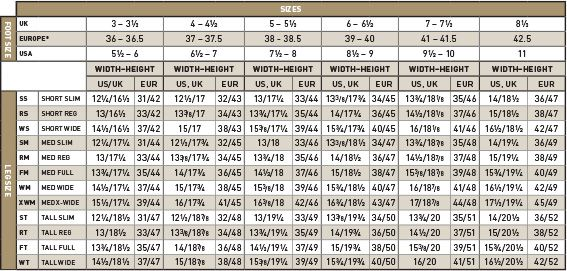 Ariat Tall Boot Sizing Chart