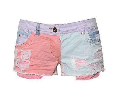 Ribbon Colour Patch Denim Shorts
