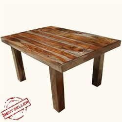 """70"""" Solid Wood Dallas Ranch Rectangular Dining Room Table For 6 People"""