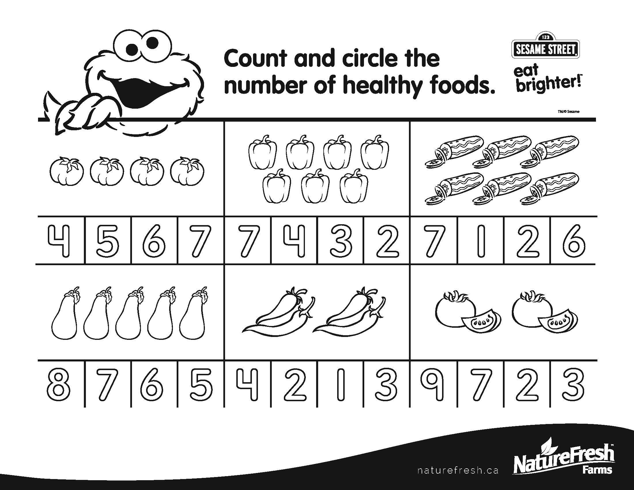 Count And Circle The Number Of Healthy Foods