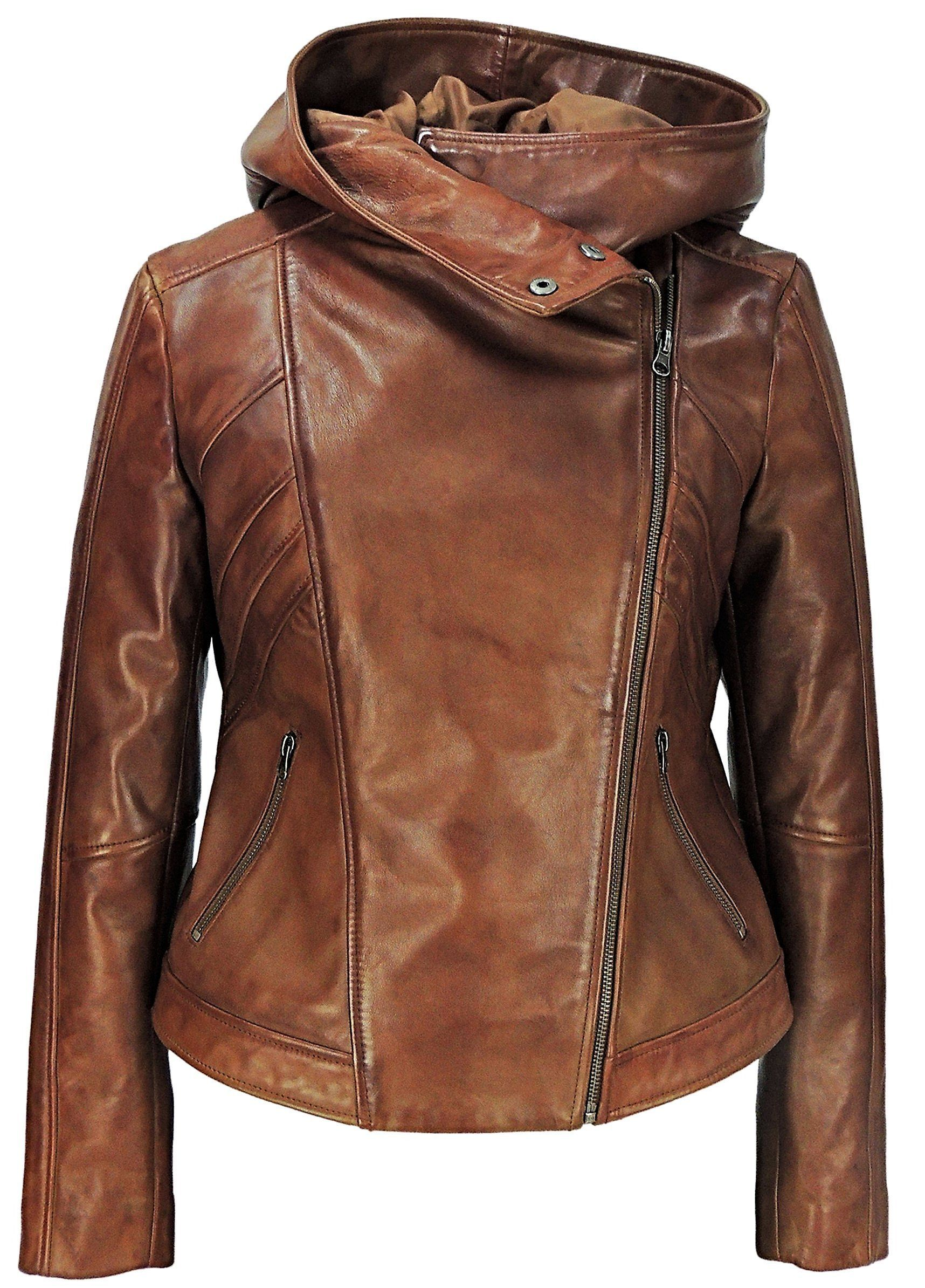Sasha High Fashion Womens Hooded Leather Jacket - Discounted in 2019 ... 6c509f83ab