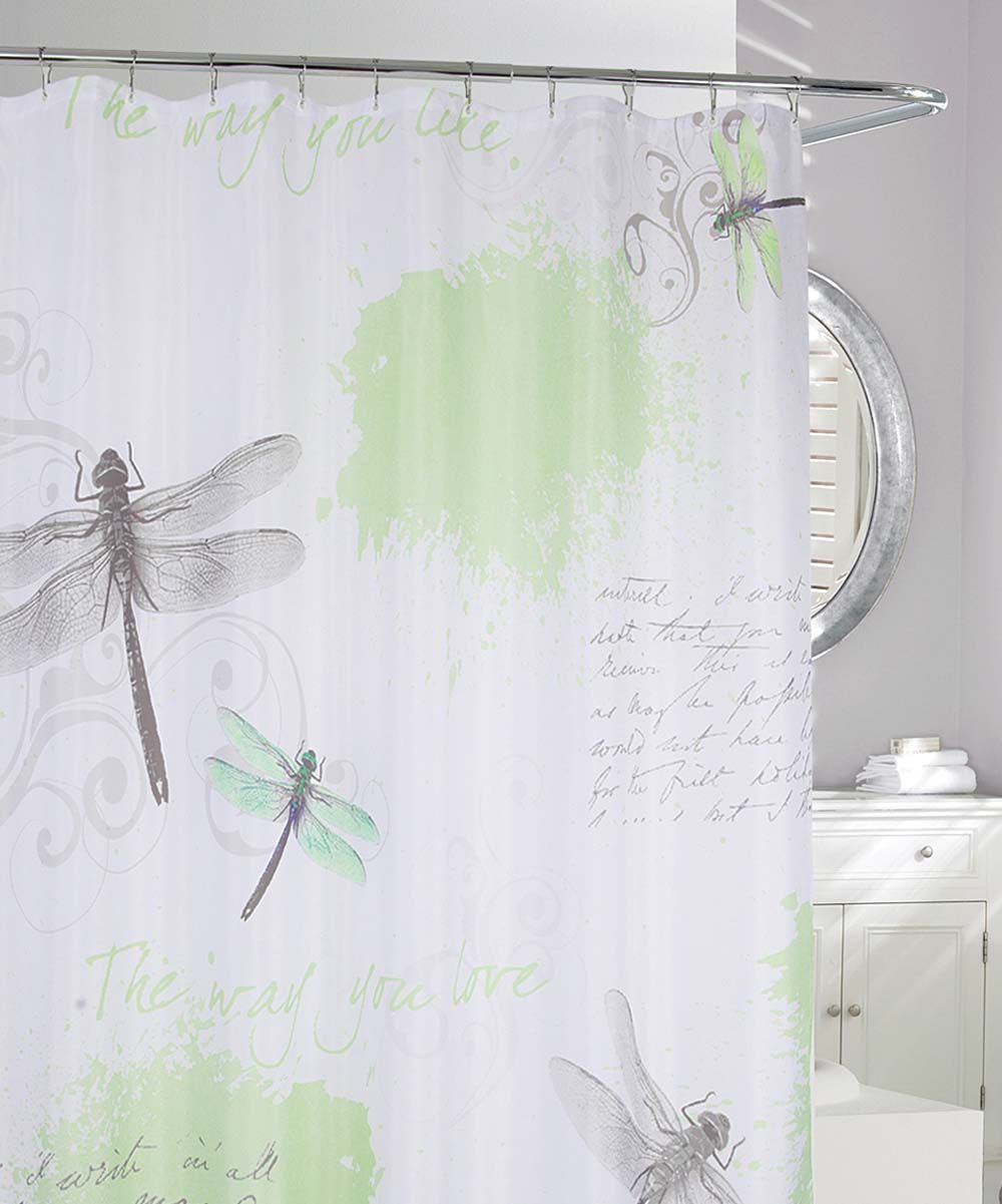 Green Gray Dragonfly Shower Curtain Fabric Shower Curtains