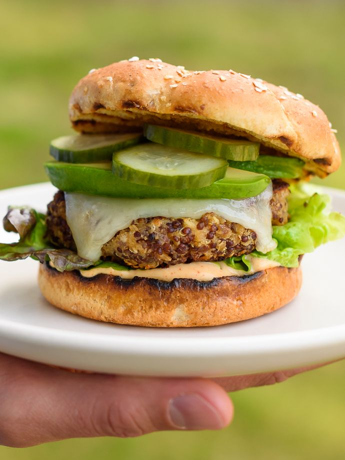 Ultimate Quinoa Veggie Cheeseburgers -- @forkknifeswoon @sargentocheese #realcheesepeople