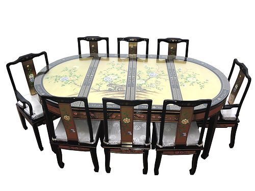 Chinese Oriental Furniture Genuine Gold Leaf Dining Table Set Unique Dining Room Table And Chairs Ebay Decorating Inspiration