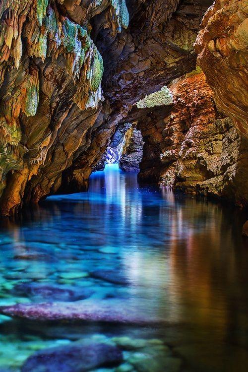 Beautiful, clear water running through a limestone karst in Croatia via Imgur.
