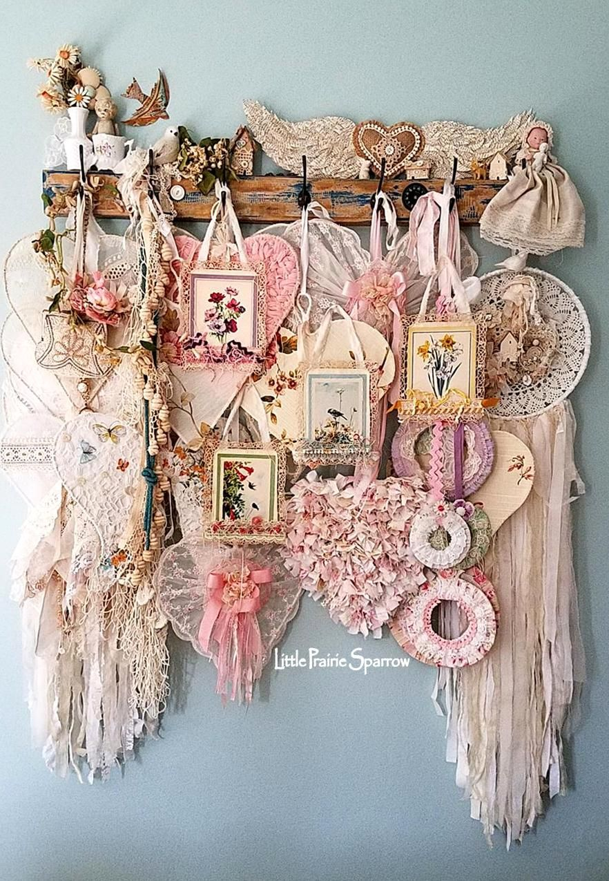 Photo of Flowers, hearts, wings, and birds. Vintage living