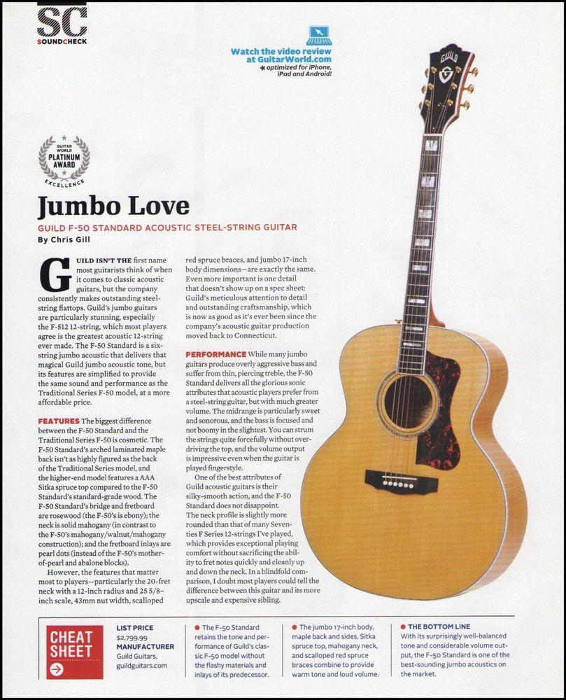 Details About Guild Jumbo F 50 Standard Acoustic Guitar 8 X 11 Sound