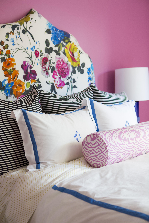 Bedroom pink and black - Girls Bedroom Pink Walls Floral Headboard Black White Stripes Pillows Monograms
