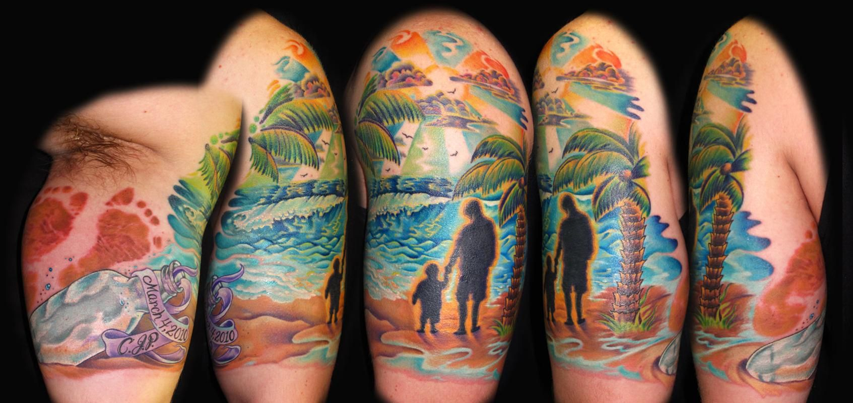 Love The Infant Footprint With The Beach Scene Quarter Sleeve Tattoo Tattoo Sleeve Designs Beachy Tattoos Sleeve Tattoos