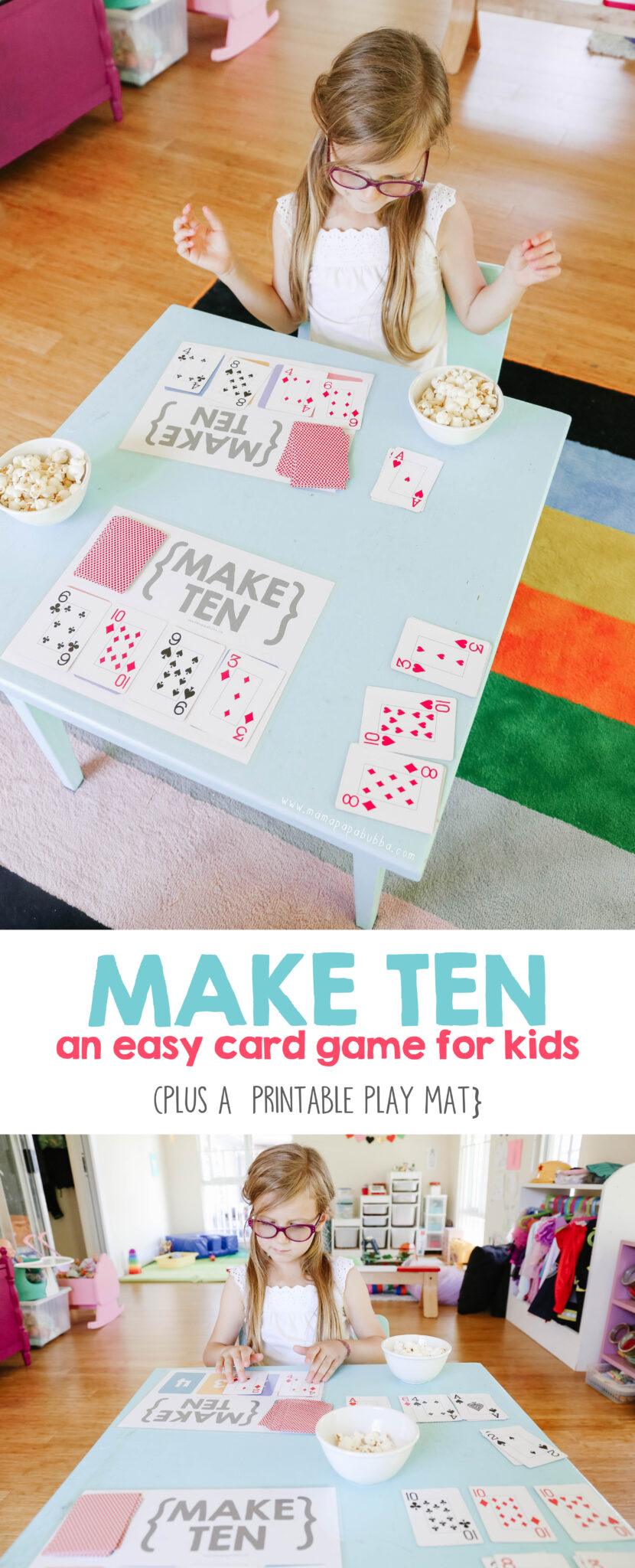 Make Ten {an easy card game for kids Card games for kids