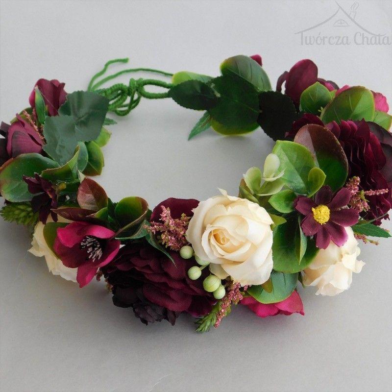 Bordowy Wianek Slubny Wianek Kwiatowy Na Glowe Boho My Wedding Wedding