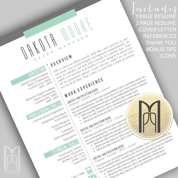 Resume Template and Cover Letter Template Professional Creative - mac pages resume templates
