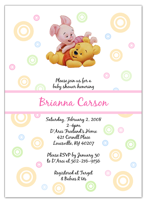 Winnie The Pooh And Piglet Baby Shower Invitations Baby Shower Invites For Girl Baby Shower Invitations Baby Shower