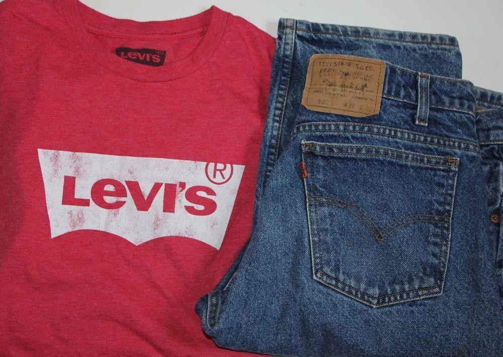 c8898926385 Levi s 505 Blue Jeans Orange Tag Men Size 36 x 30 One Large Levi T Shirt   Levis  Levi505