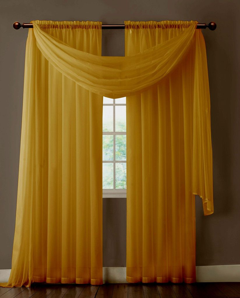 Warm home designs pair of caramel gold sheer curtains or for Window panel design