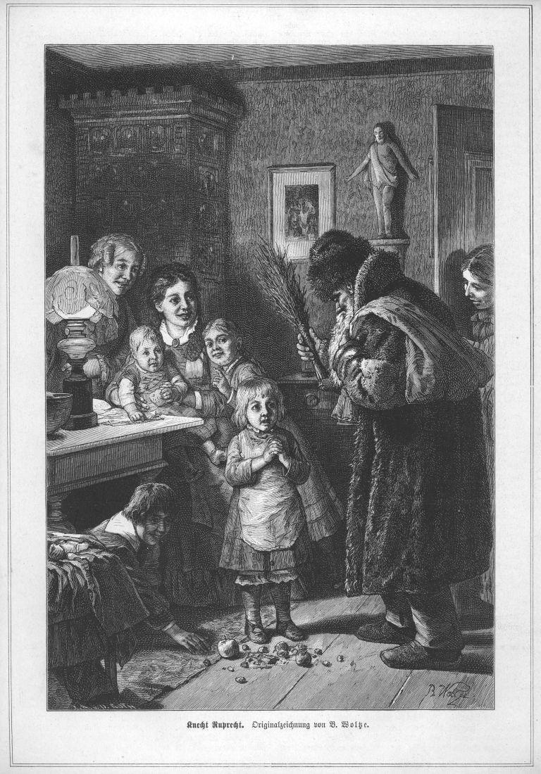 Knecht Ruprecht Weihnachten Original Holzstich Von 1881 Knecht
