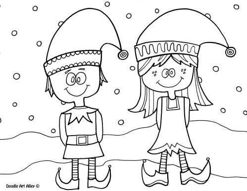 Cute Boy And Girl Elves Printable Christmas Coloring Pages