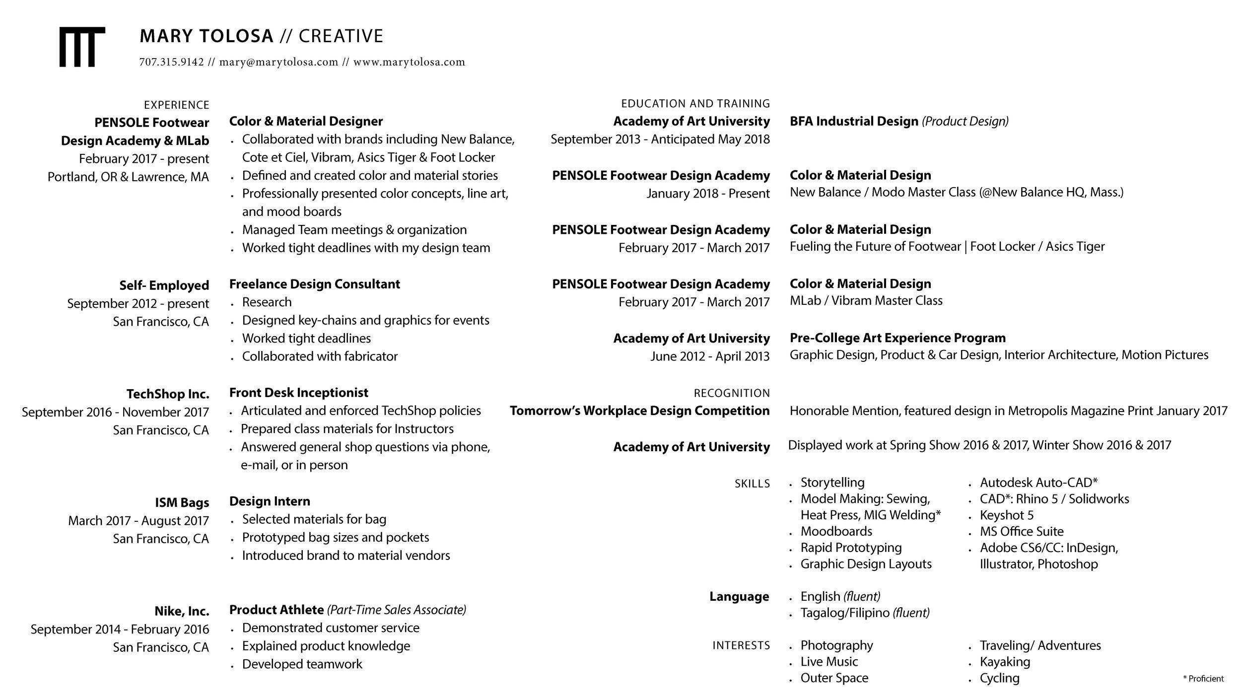 Image result for 2018 resume for industrial designers