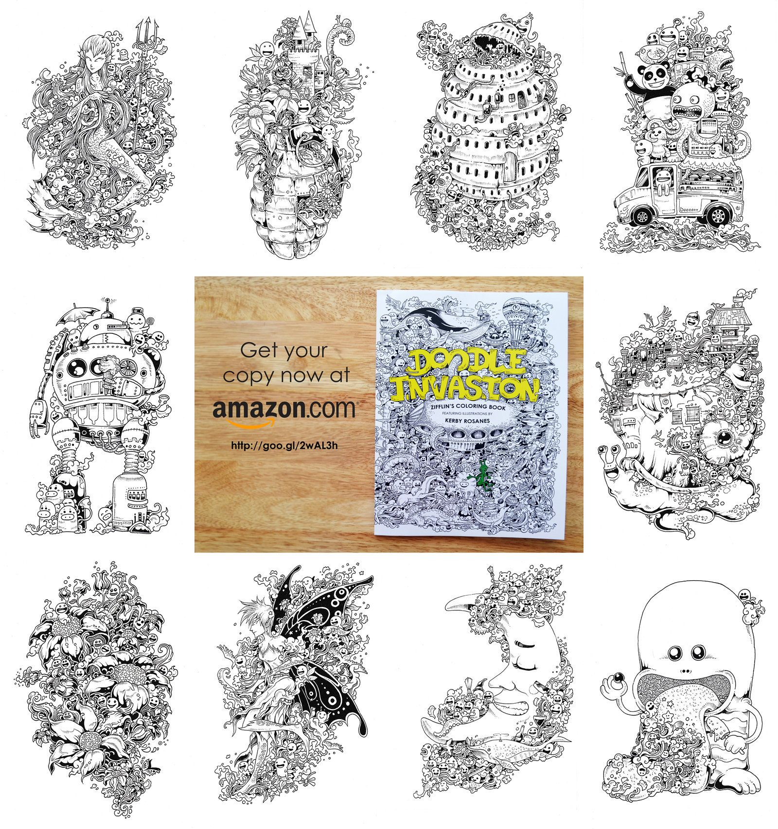 Selected Pages From Doodle Invasion Coloring Book By Kerbyrosanesdeviantart On DeviantART