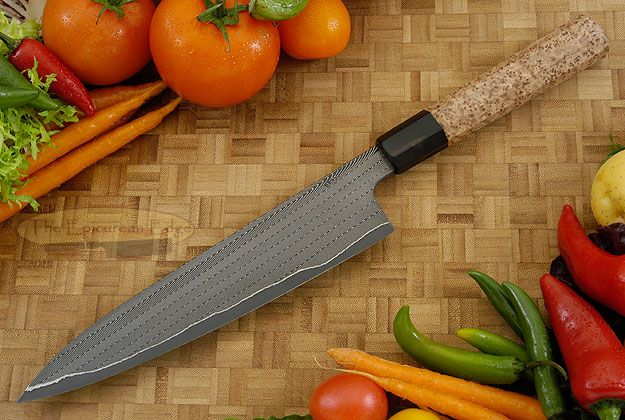 Chef's Knife - Gyuto (8-1/4 in.) with Herringbone Damascus and Black Ash Burl Devin Thomas