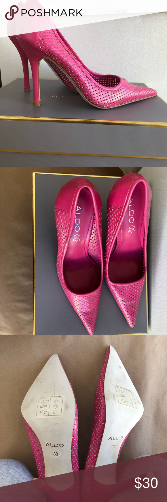 918e052d8e30 EUC Aldo Perforated Hot Pink Heels -EUC -Bold color -Heel height in photos  -See Aldo size chart for size reference.(size 39
