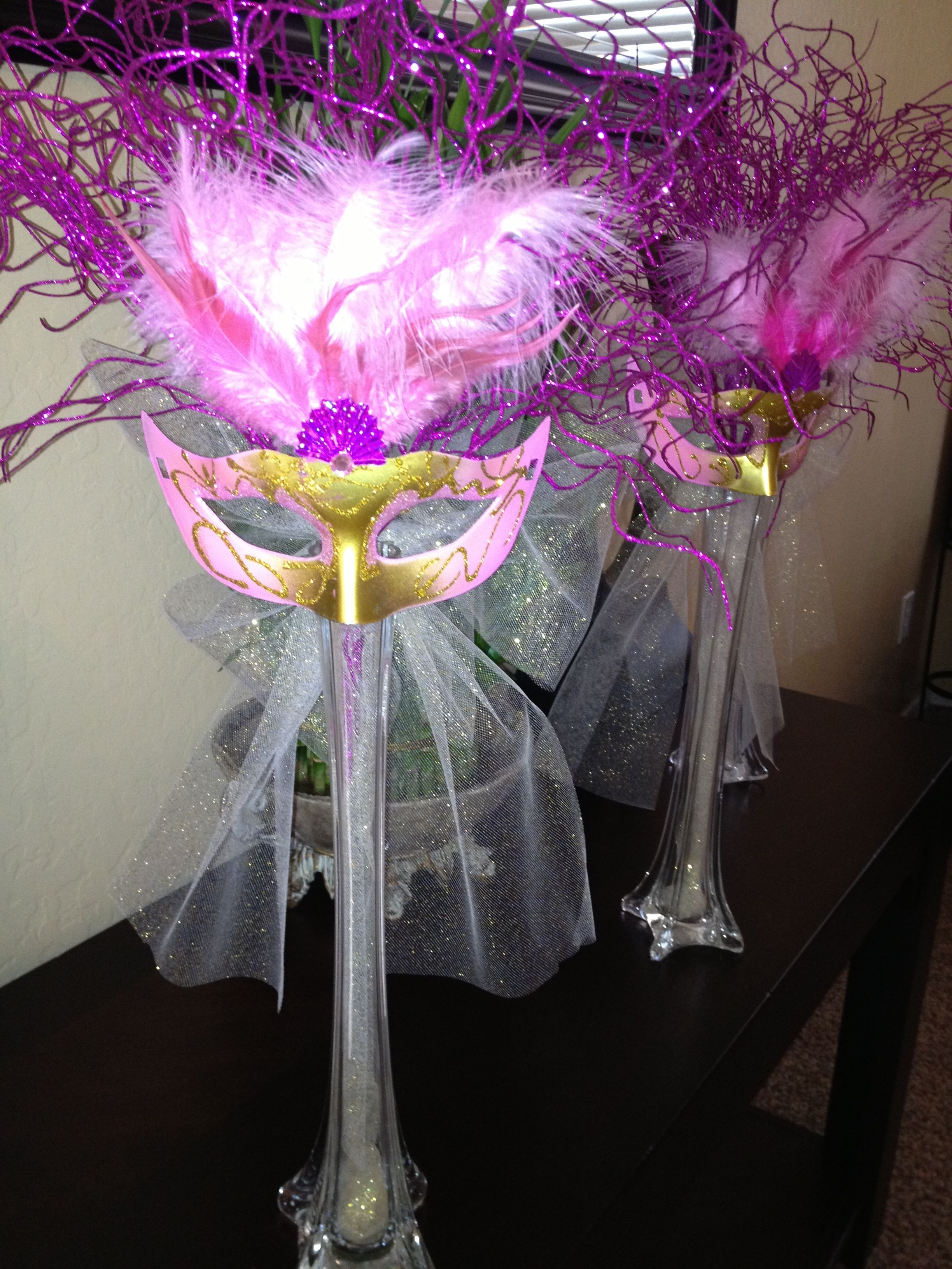 Masquerade centerpiece made it for my sisters sweet
