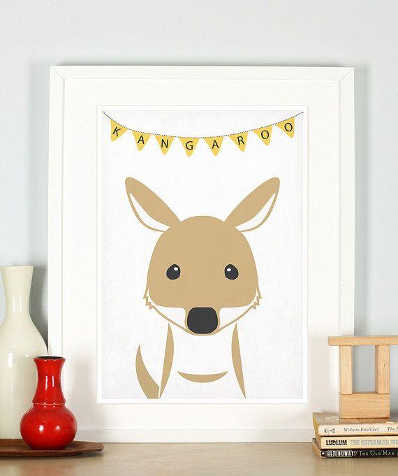 Nursery Art Print Kangaroo Animal Nursery Art Cute Baby Animal Animal Art Print Animal Wall Decor Nursery Animal Print Nursery Artwork Com Imagens Criatividade Costura Criativa Criancas