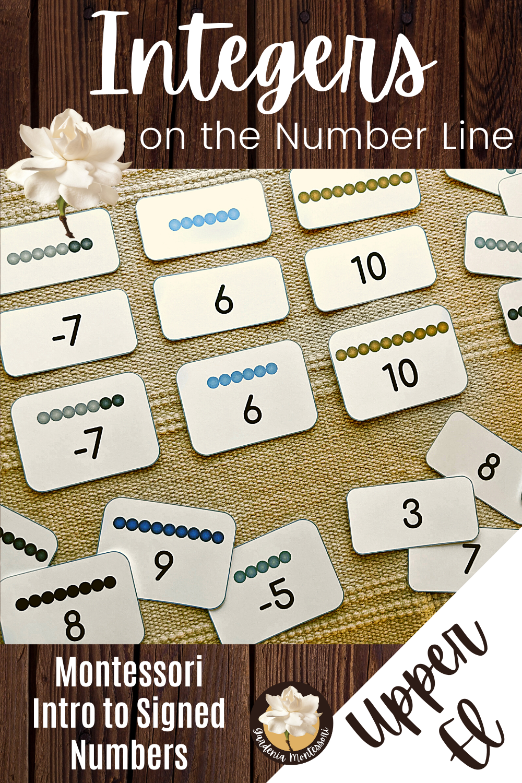 Integers Number Line Cards Montessori Signed Negative Numbers Worksheet Number Line Montessori Math Activities Negative Numbers Worksheet