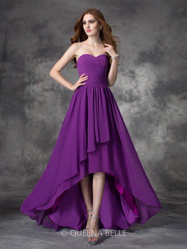 68e979365d1d A-line/Princess Sleeveless Sweetheart Ruffles Asymmetrical Chiffon  Bridesmaid Dresses