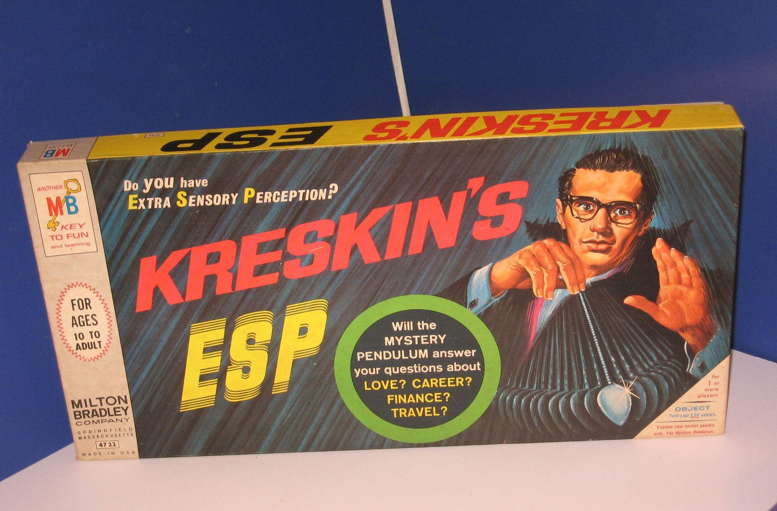 Kreskin's ESP Vintage Board Game Milton Bradley,Hypnotize,See the Future,Psychic