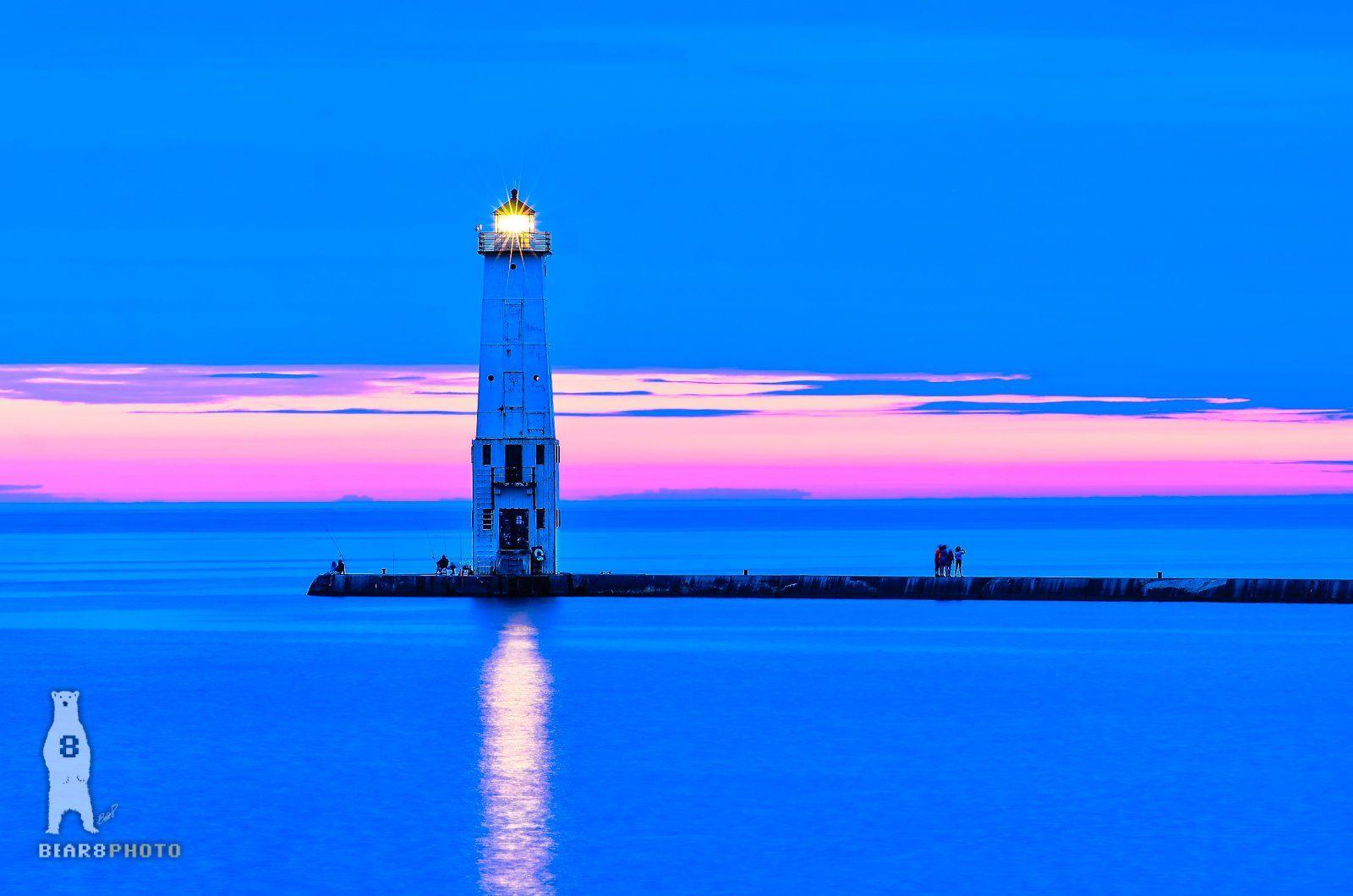 Ocean Lake Beach Lighthouse Wall Picture Art Print