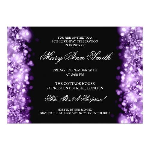 Elegant 60th Birthday Purple Sparkling Lights Card Birthday