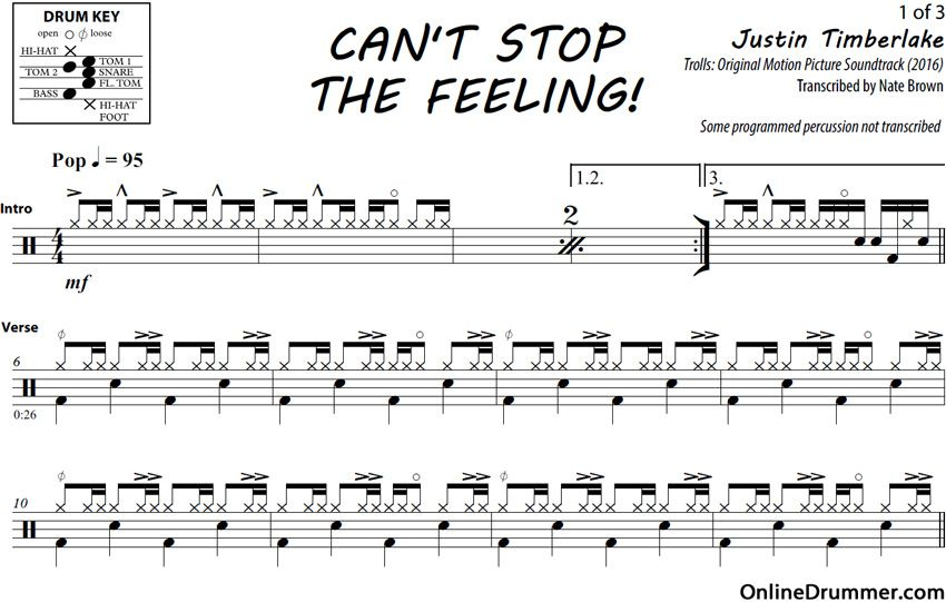 Can T Stop The Feeling Justin Timberlake Drum Sheet Music