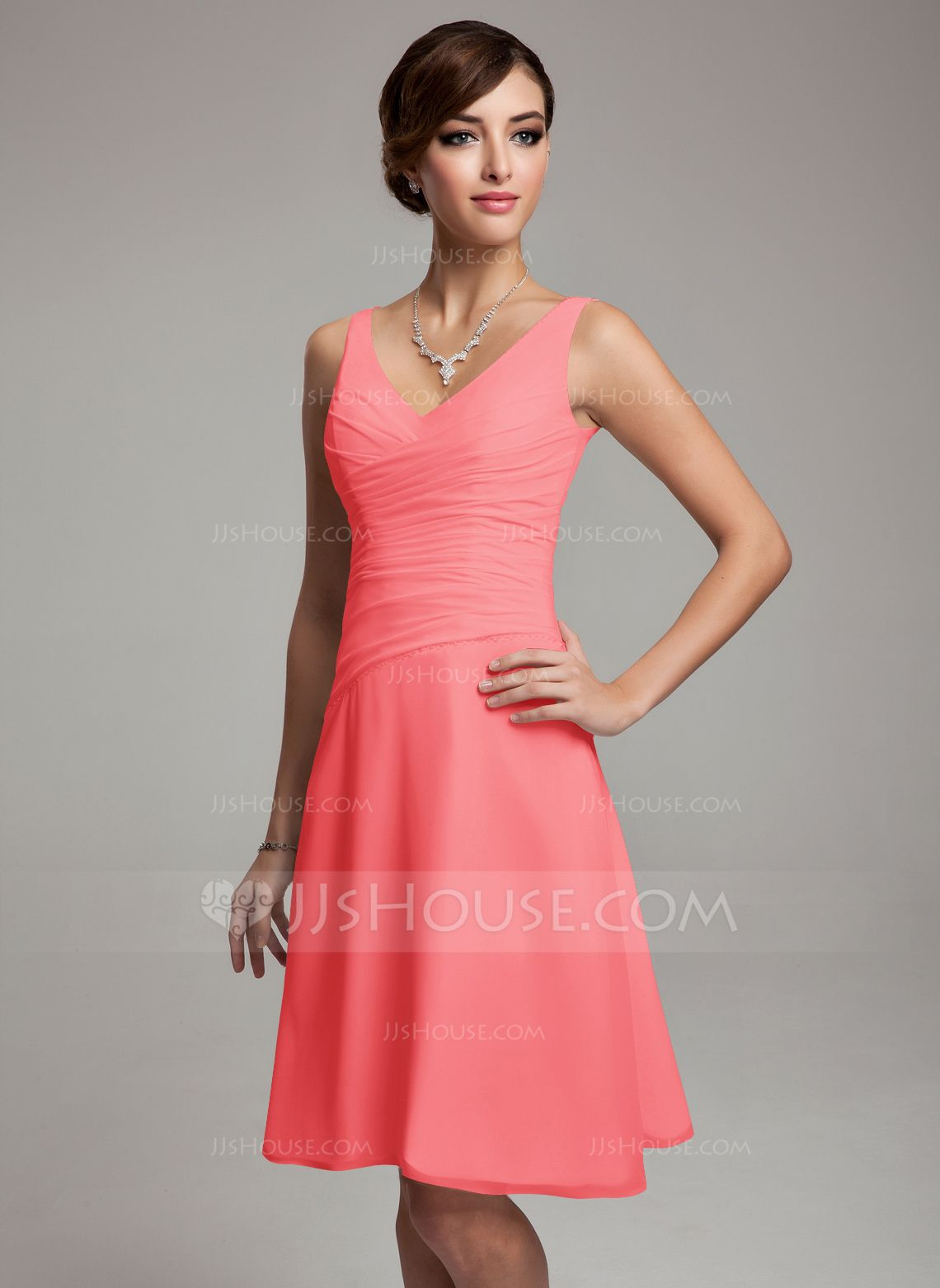 Coral dress Cocktail dress Summer dress coral wedding guipure dress ...