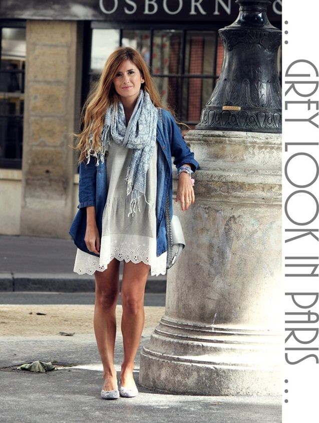 #fashion #fashionista Rebeca jeans bianco A TRENDY LIFE: GREY OUTFIT IN PARIS
